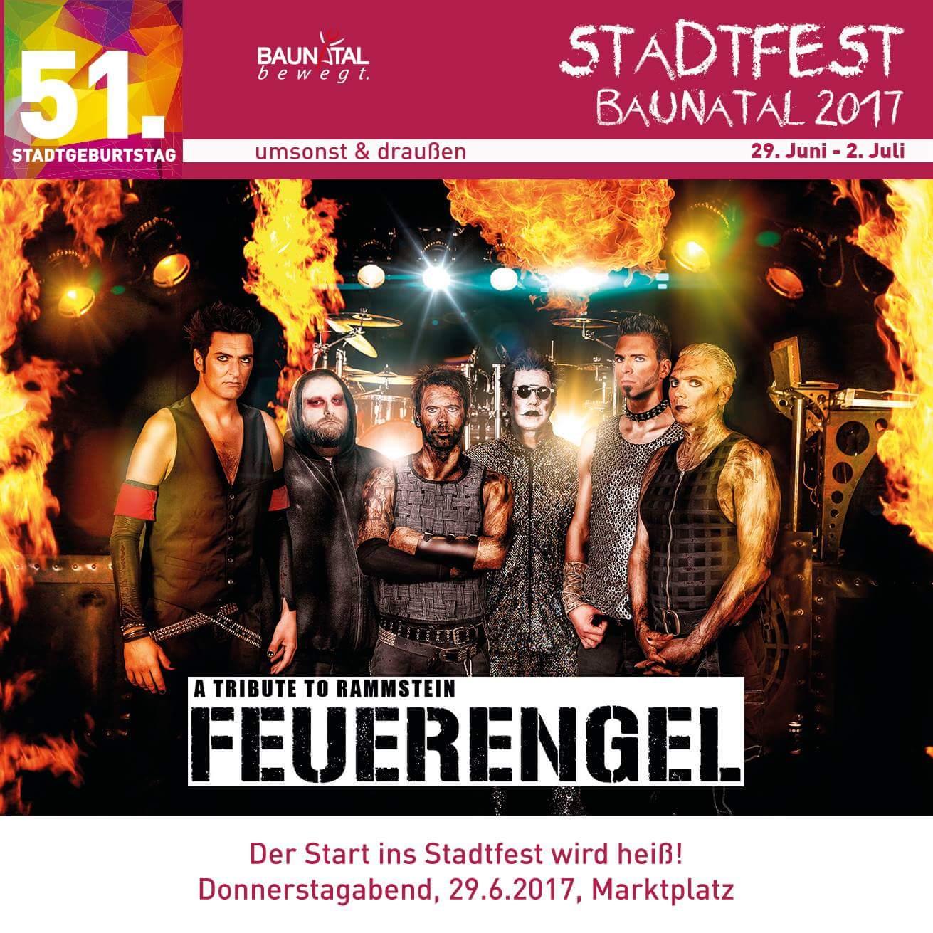 FEUERENGEL, Tribute to Rammstein zum Start am Donnerstag, 29.6.2017