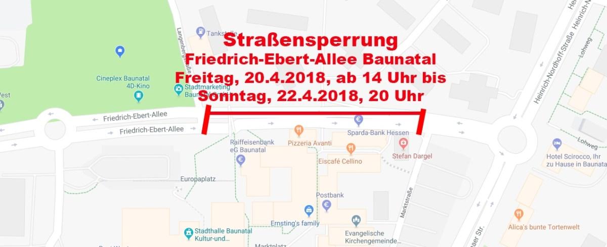 Teilweise Straßensperrung Friedrich-Ebert- Allee Baunatal ab Freitag für Baunataler Automobilausstellung