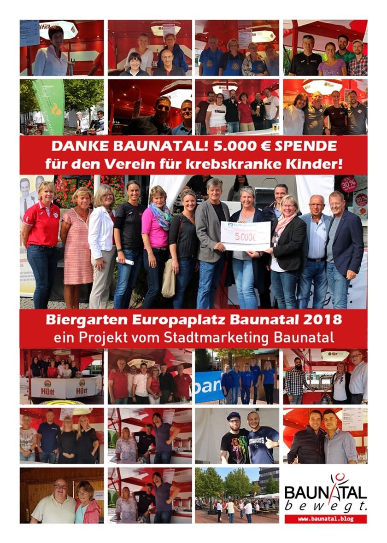 Biergarten Europaplatz Baunatal 2018, 5000€ für Verein für krebskranke Kinder, Danke #Baunatal, Stadtmarketing Baunatal