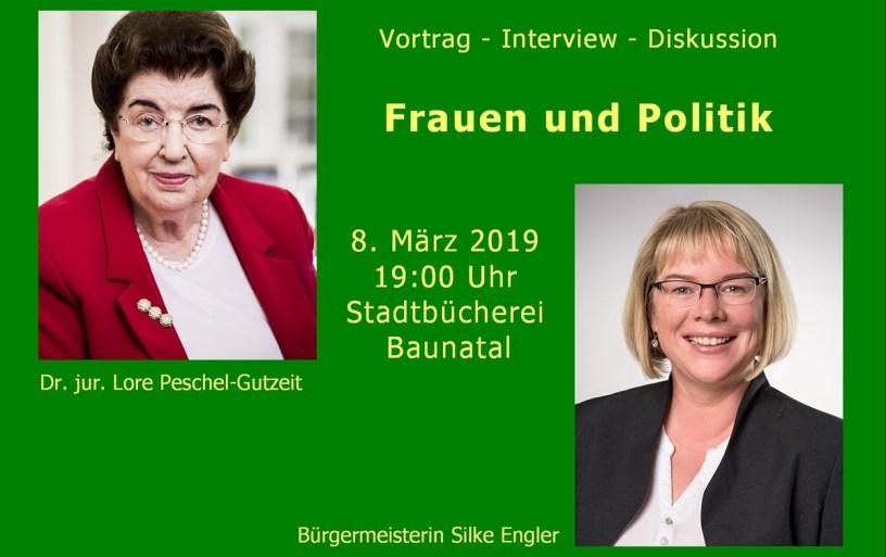 Baunatal, Silke Engler, Berlin Dr. jur. Lore Maria Peschel-Gutzeit, Frauentag, Stadtbücherei Baunatal