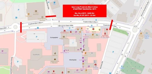 Stadtfest Baunatal 2019, Straßensperrung Stadtfest Baunatal, Straßensperrung Friedrich-Ebert-Allee