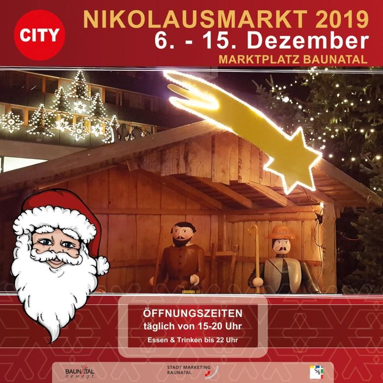 Nikolausmarkt Baunatal, 2019, Weihnachtsmarkt, Programm Nikoluasmarkt, Baunagram, Norshessen, Kreis Kassel