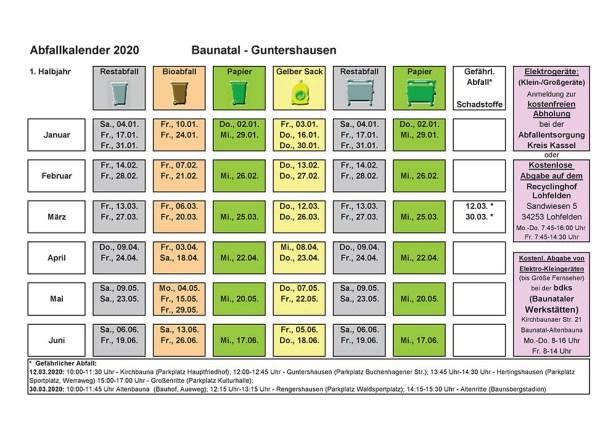 Abfallkalender, Baunatal, 2020, Guntershausen
