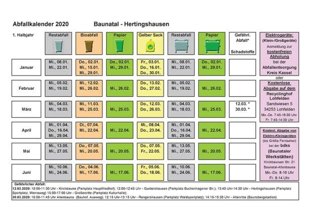 Abfallkalender, Baunatal, 2020, Hertingshausen
