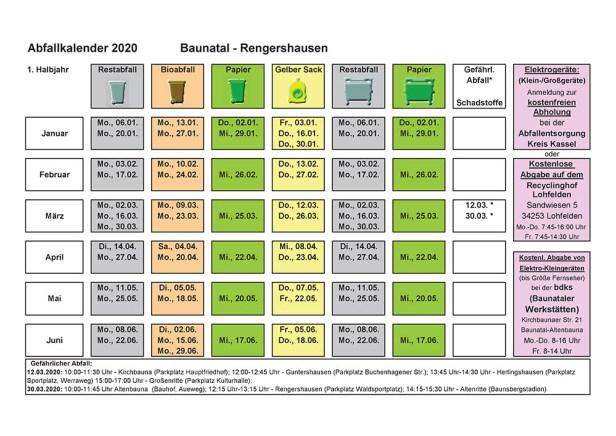 Abfallkalender, Baunatal, 2020, Rengershausen