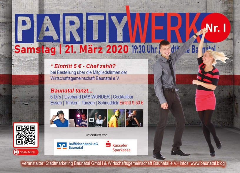 Baunatal, Partywerk, Stadthalle Baunatal, WQirtschaftsgemeinschaft Baunatal, Stadmarketing Baunatal