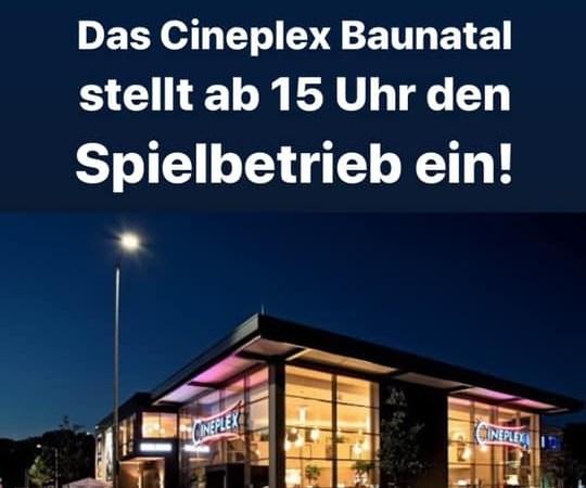 Auch Kino Cineplex Baunatal stellt Spielbetrieb ein