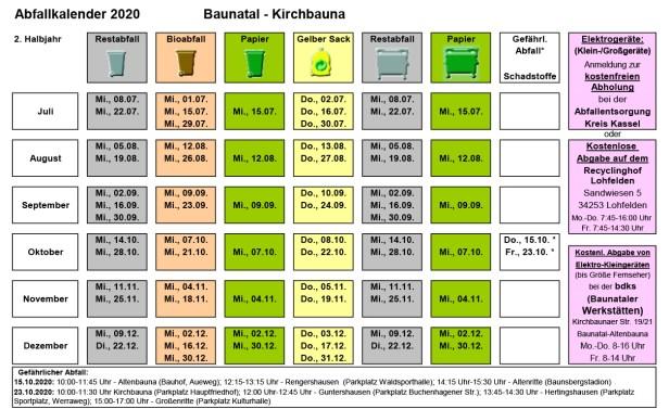 Abfallkalender Baunatal, 2020, 2. Halbjahr, Kirchbauna