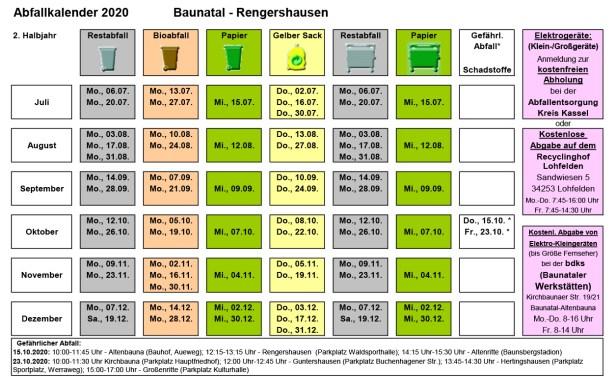 Abfallkalender Baunatal, 2020, 2. Halbjahr, Rengershausen