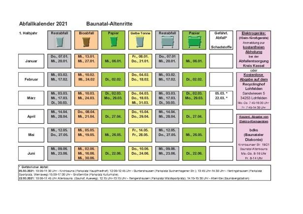 Abfallkalender, 2021, Baunatal, Landkreis Kassel, Müll, Entsorgung, Altenritte