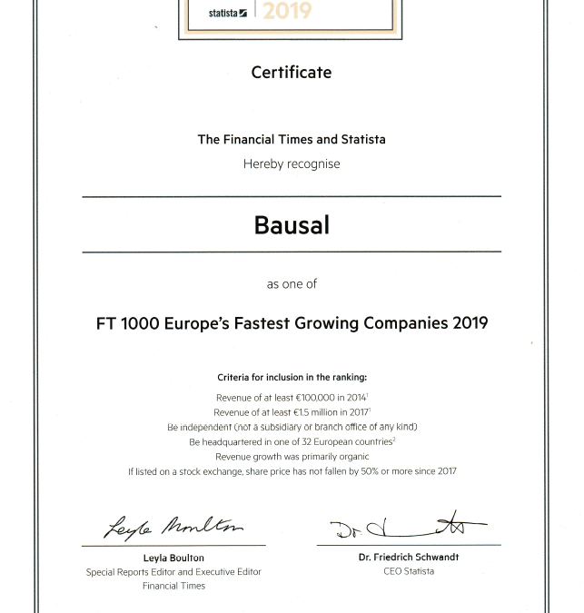Financial Times: Bausal among the 1000 fastest growing companies in Europe 2019