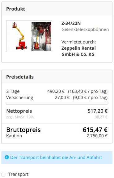 Preisdarstellung ohne Transportkosten