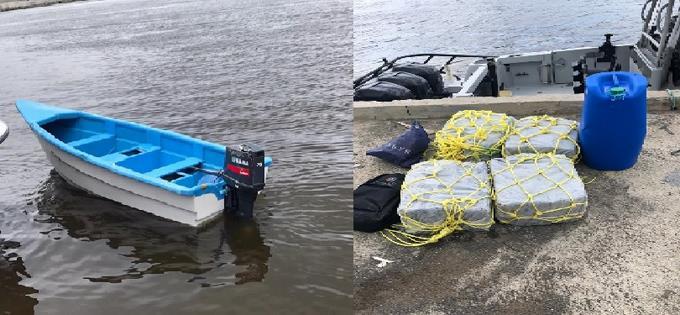 """Retienen 105 paquetes de droga en yola """"pesquera"""" en costa de SPM"""