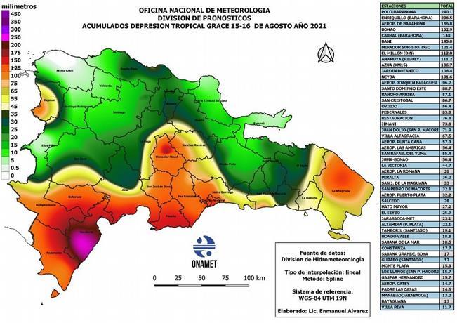 Municipio de Anamuya, entre una de las zonas que más cayó lluvia tras paso de Grace; Mapa de las demarcaciones más afectadas