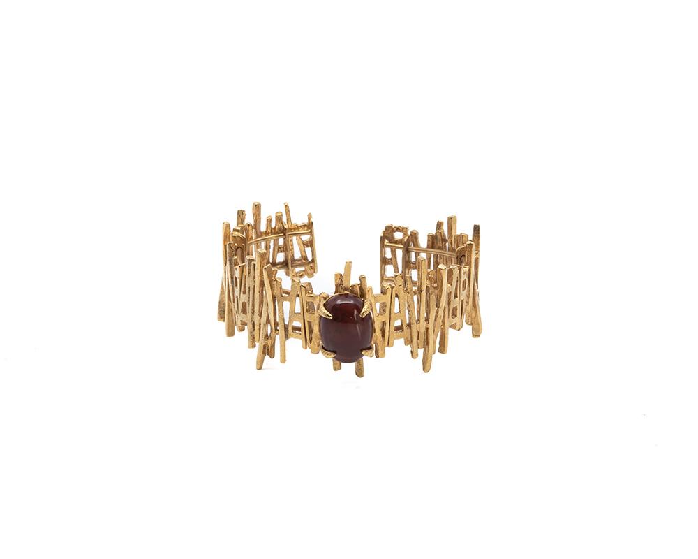Corfu Red agate stone gold plated cuff