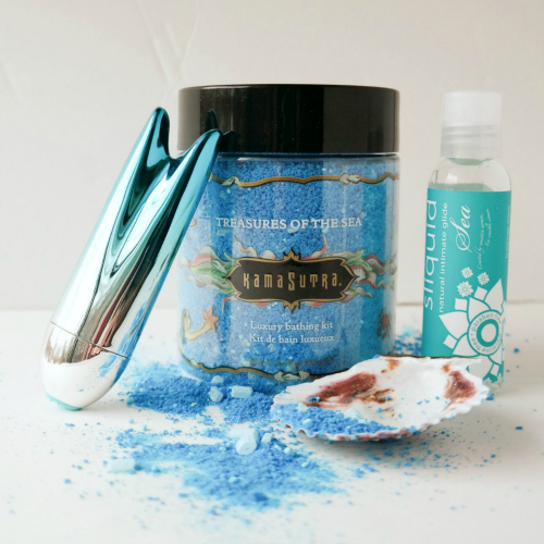 Mermaid sex toy kit with mermaid tail bullet, seaweed based lube, and sea bath salts