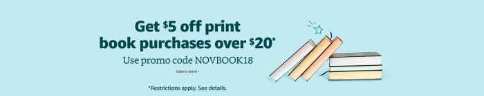 Amazon $5 off $20 books with code NOVBOOK18