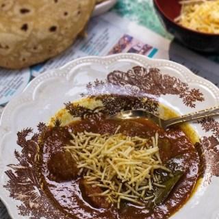Traditional Parsi Sali Boti - meat with potato sticks