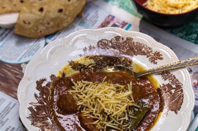 Traditional Parsi Sali Boti - meat with potato sticks