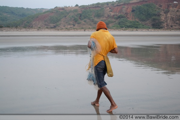The lone fisherman on Ware Beach, Ganpatipule