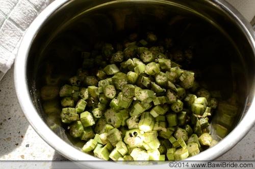 Chopped Bheeda for Bheeda Papeto