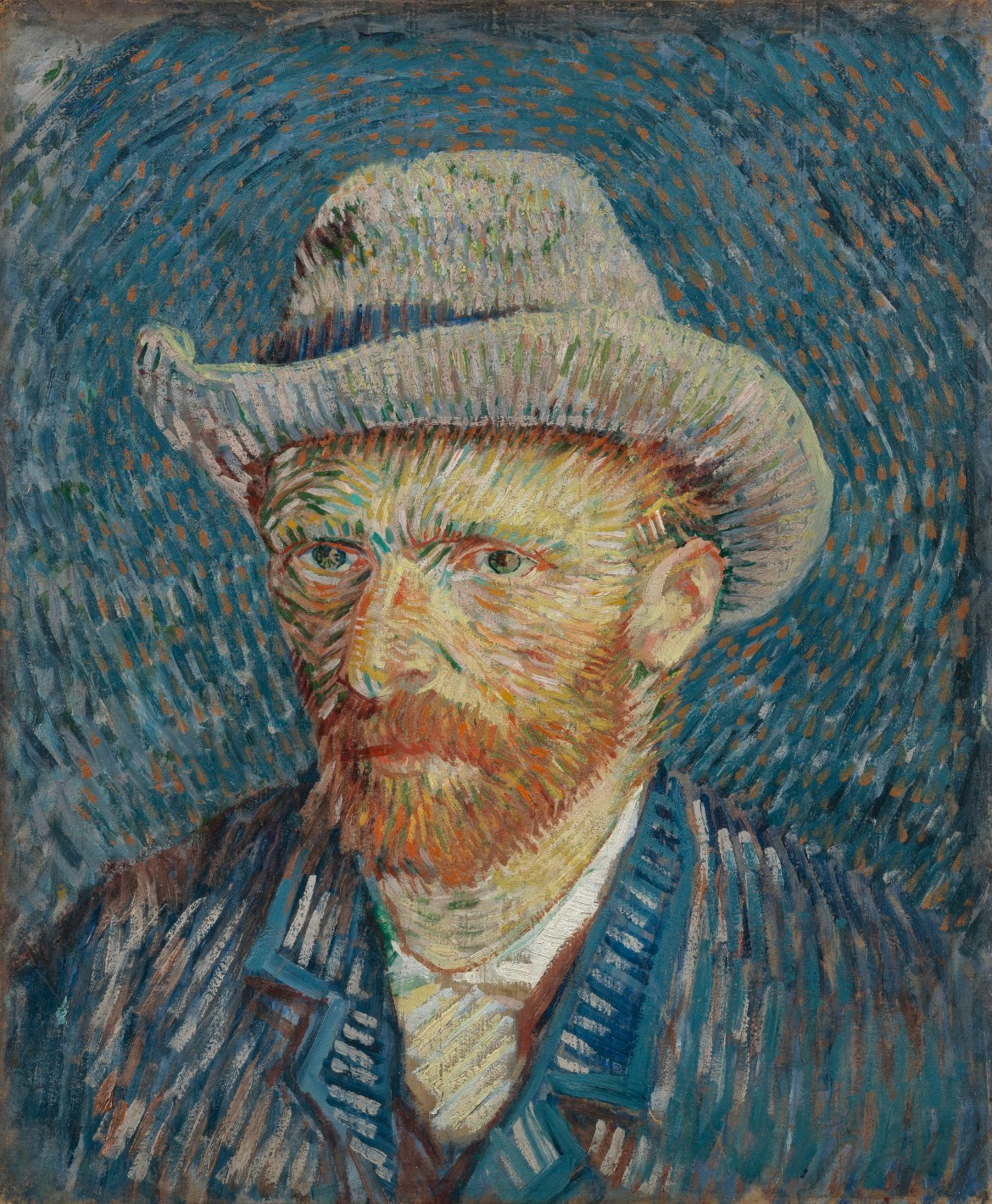 Self-Portrait with Grey Felt Hat , Vincent Van Gogh, Van Gogh Museum, Amsterdam, Hollanda