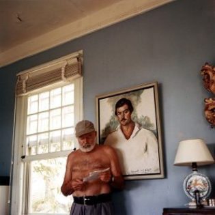 Ernest Hemingway determining what to leave out. Photo at his home in Cuba, c. 1953 JFK Presidential Library, Boston, public domain