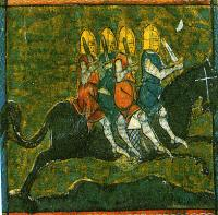 The horse Bayard carrying the four sons of Aymon, miniature in a manuscript from the 14th century.