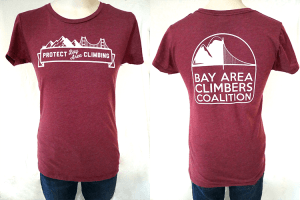 "Women's ""Protect Bay Area Climbing"" Burgundy"