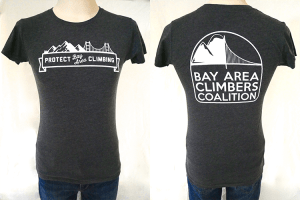 "Women's ""Protect Bay Area Climbing"" Charcoal"