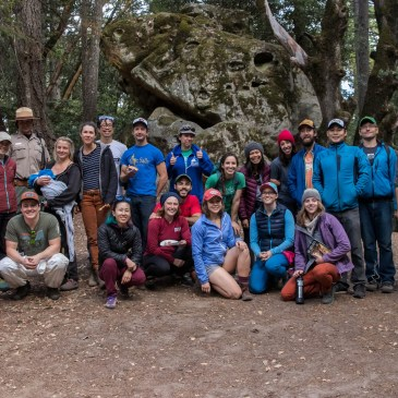 a group photo of the Indian Rock (South Bay) Adopt-A-Crag, October 2019 participants