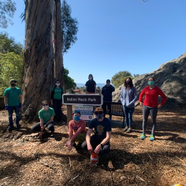 9 masked volunteers stand around the park sign for Indian Rock Park in Berkeley, California. Indian Rock Park can be seen in the background