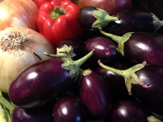 eggplant onion and pepper
