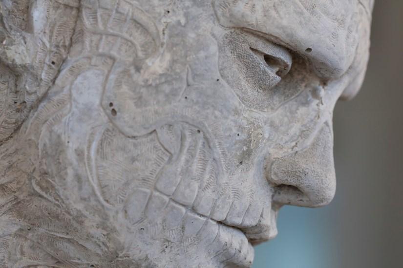 SF MoMA-skullface sculpture