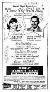 Johnny Holliday and Sally Field (TV's Gidget) co-host a teen fashion event sponsored by Montgomery Ward.