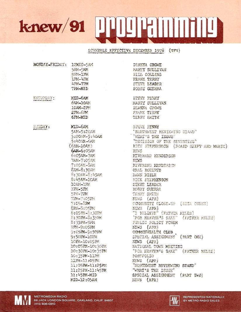 KNEW Oakland Program Schedule (Image)