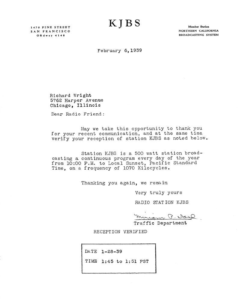 KJBS 1939 QSL Letter (Image)