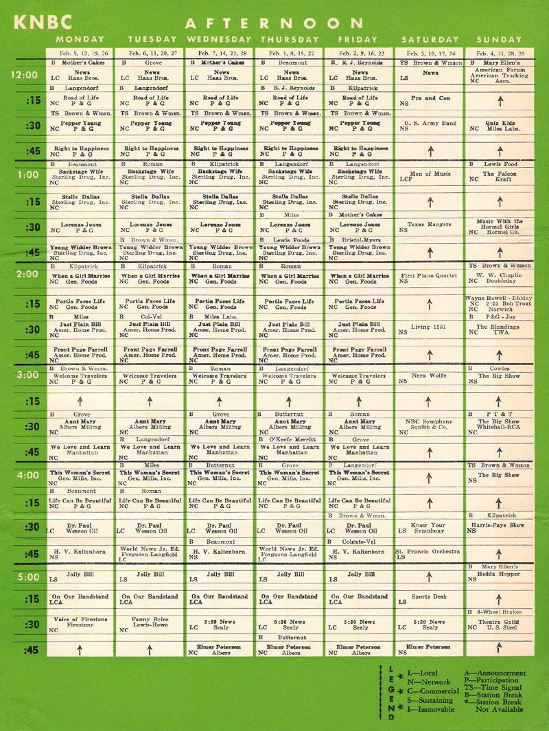 knbc_prog-sched_feb-1951_c