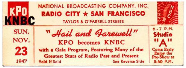 KPO KNBC Hail and Farewell Ticket (Image)