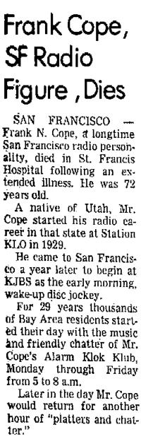 Frank Cope Obituary (Image)