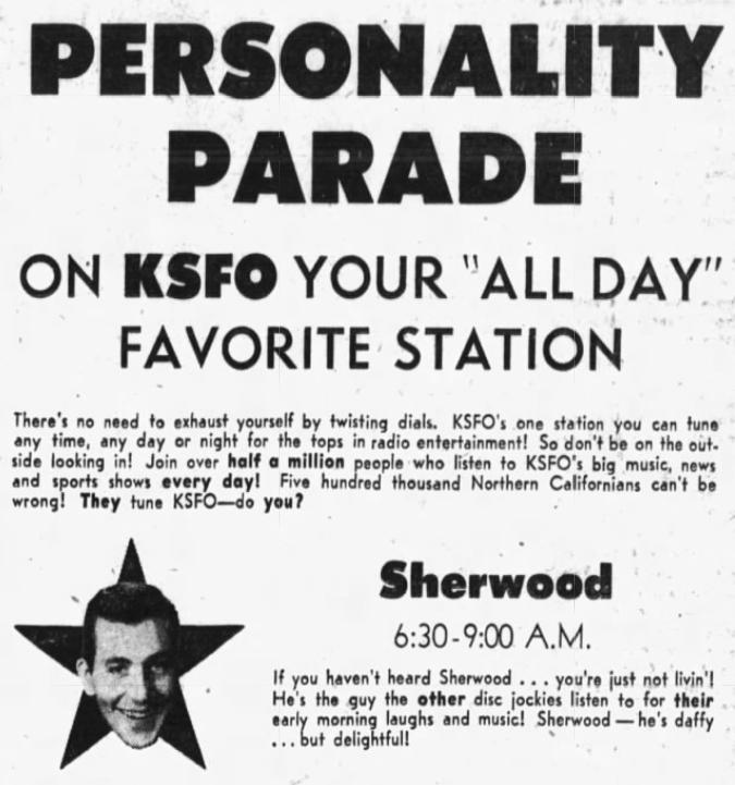 Don Sherwood KSFO Ad, 1953 (Image)