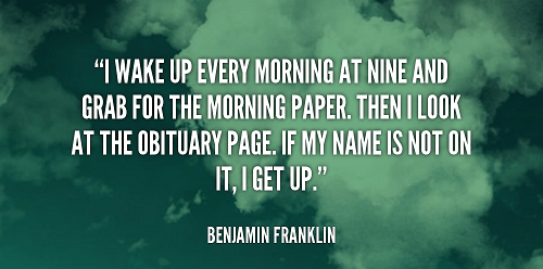 Funny Good Morning Quotes with Image from Benjamin Franklin