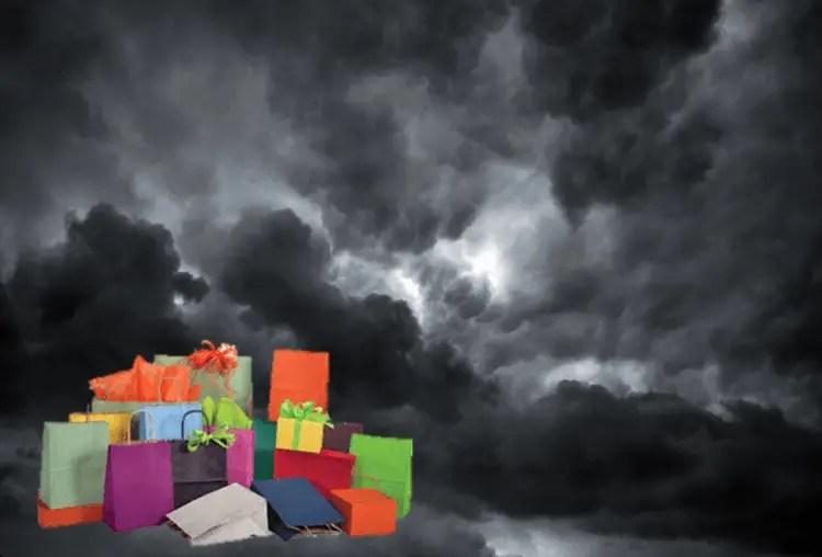 Shopping kills dark clouds.