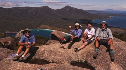 Geoff, Xiou, Annie and Bob on Mt Amos overlooking Wineglass Bay, Freycinet National Park