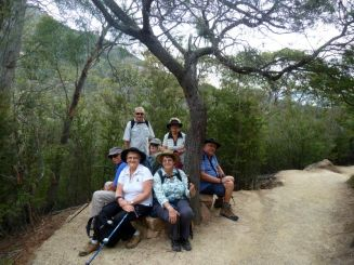John, Helen, Barry, Lora, Sandra, Lyn and David on track to Wineglass Bay Lookout, Freycinet National Park