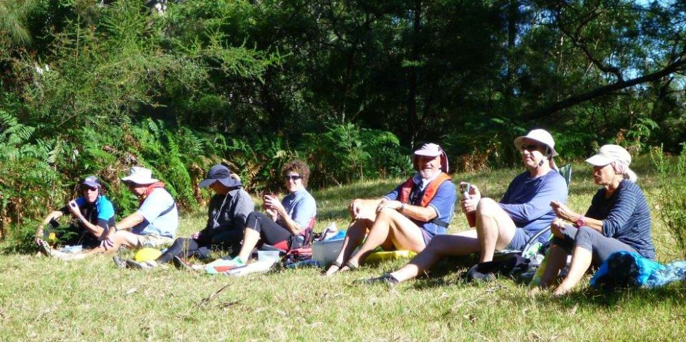 Lunch on a grassy bank in the sun
