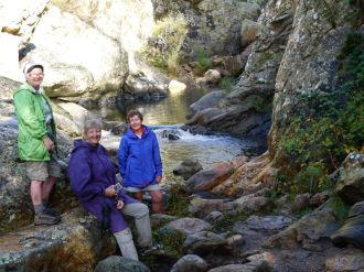 Kay, Karen and Glen at the cascades