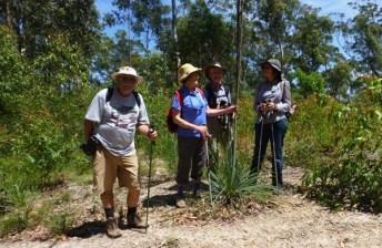 Joan, Simeon, Carol and Denise admire a Xanthorrhoea resinifera