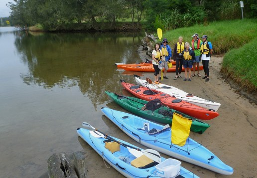 Kayakers gather before setting out from Snake Flat