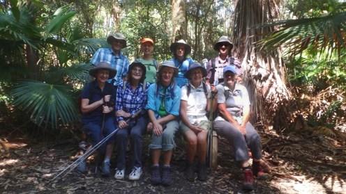 Rodney, Dorry, Phil, Ian, Moira, Denise, Erika, Glenn, Donna in the rainforest above Snake Bay.